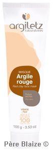 Masque argile rouge P.A.E. - 100 g - ARGILETZ