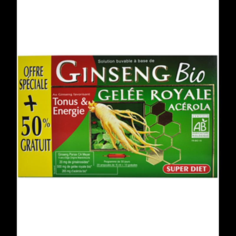Ginseng gélee royale acerola BIO - 20 ampoules + 10 offertes x 15 ml - LABORATOIRES