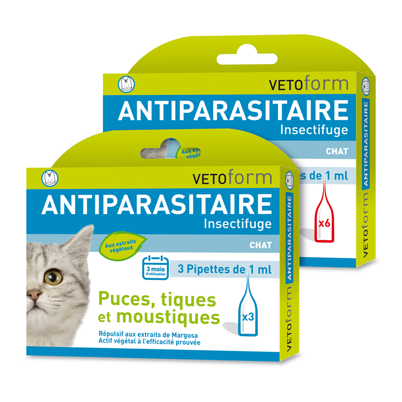Pipettes antiparasitaires chat - 3 x 1 ml - VETOFORM