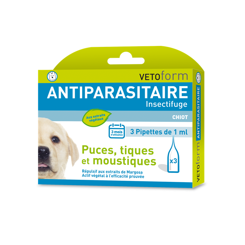 Pipettes antiparasitaires chiot - 3 x 1 ml - VETOFORM