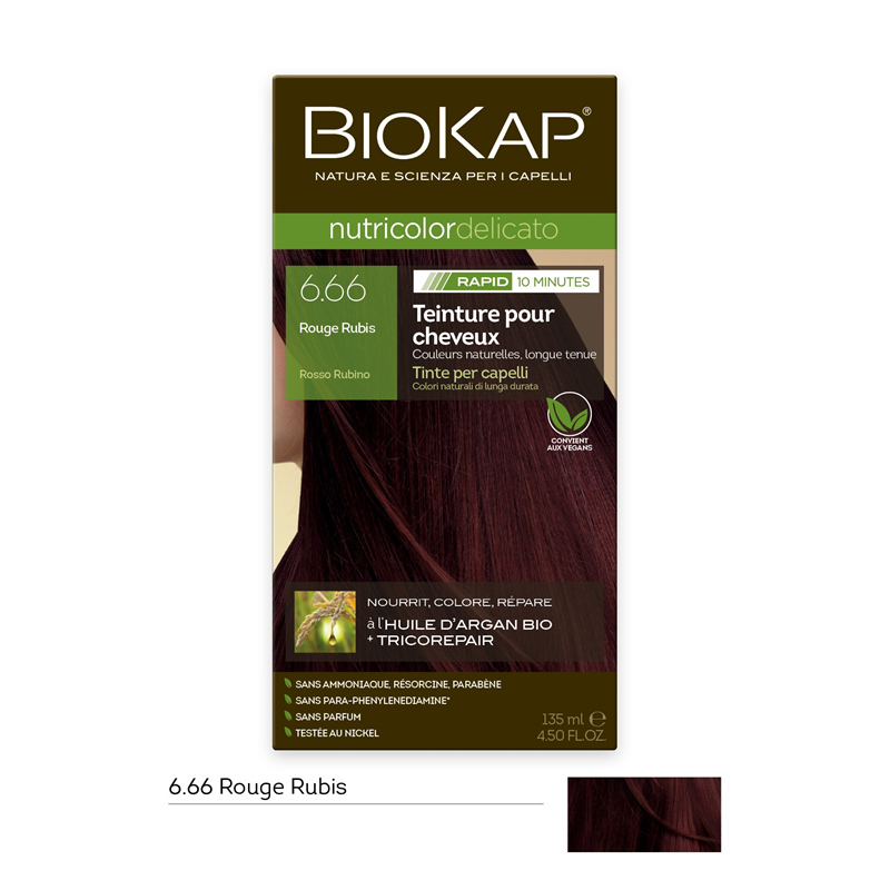 Nutricolor delicato rapid - 6.66 Rouge rubis - 135 ml - BIOKAP