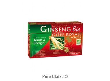 Ginseng gélee royale acerola BIO - 20 ampoules x 15 ml - LABORATOIRES SUPERDIET