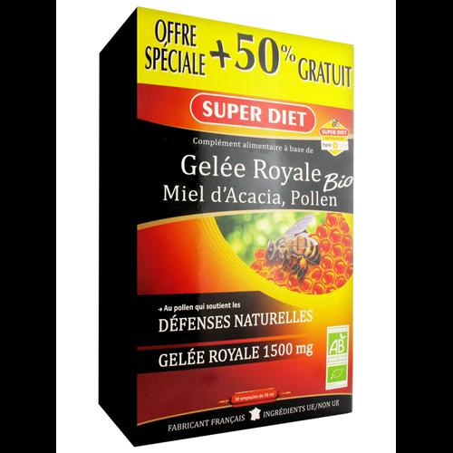Gelee royale miel acacia pollen BIO - 30 ampoules x 15 ml - LABORATOIRES SUPERDIET