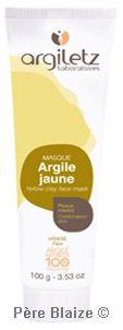 Masque argile jaune P.A.E. - 100 g - ARGILETZ