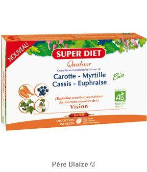 Quatuor euphraise vision BIO - carotte, myrtille, cassis, euphraise - 20 ampoules x 15 ml - LABORATOIRES SUPERDIET