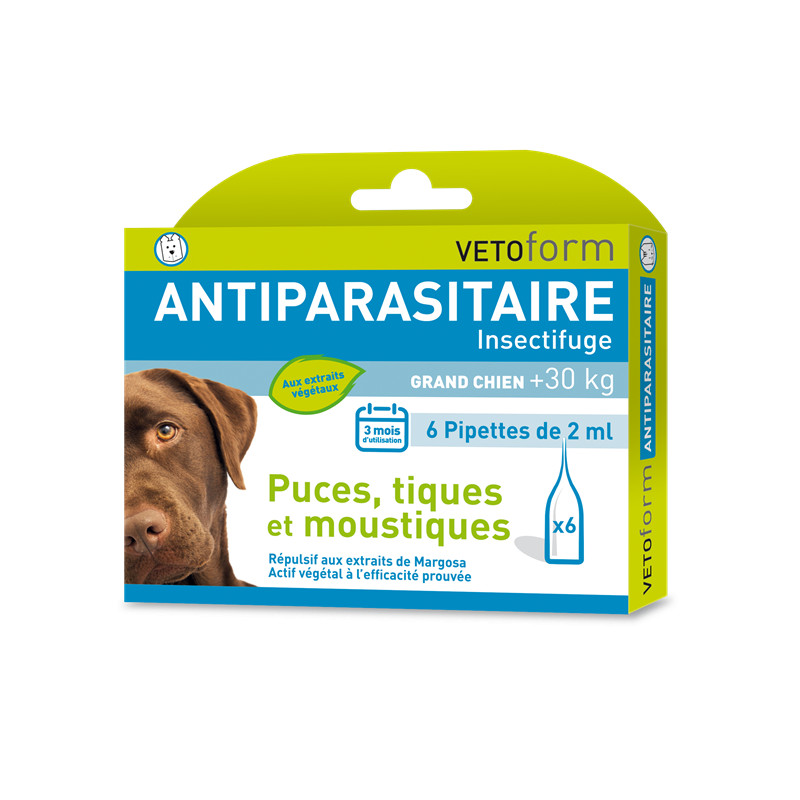 Pipettes antiparasitaires grand chien + 30 kg - 6 x 2 ml - VETOFORM