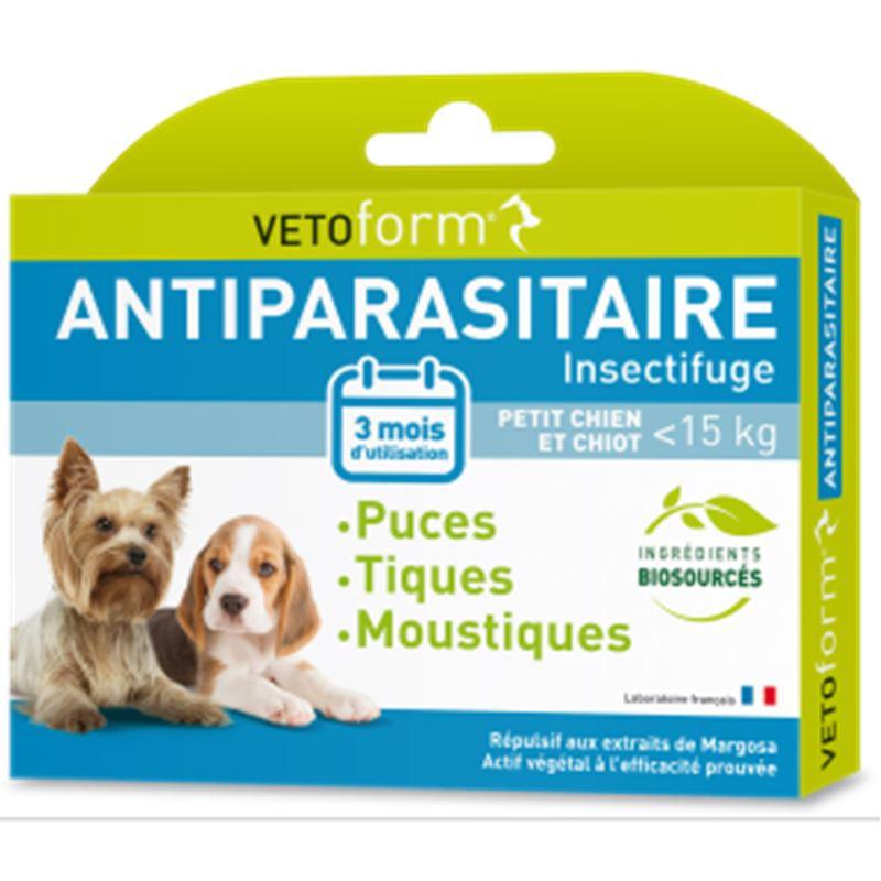 Pipettes antiparasitaires petit chien et chiots - 15 kg - 3 x 1 ml - VETOFORM