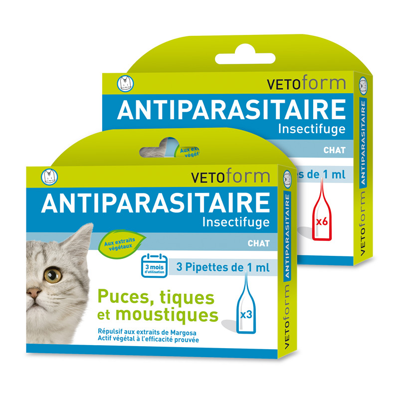 Pipettes antiparasitaires chat - 6 x 1 ml - VETOFORM