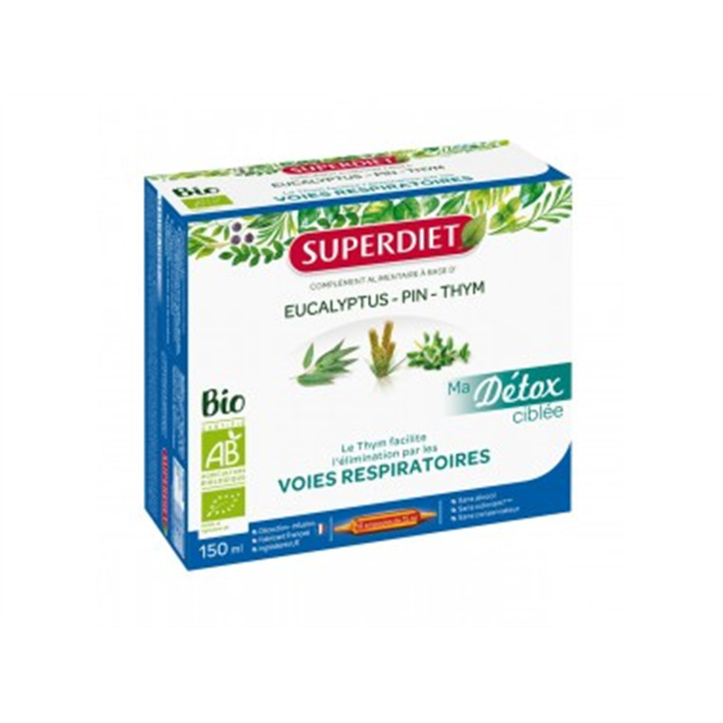 Ma Détox Ciblée Thym Voies Respiratoires Bio - 10 ampoules x 15 ml - LABORATOIRES SUPERDIET
