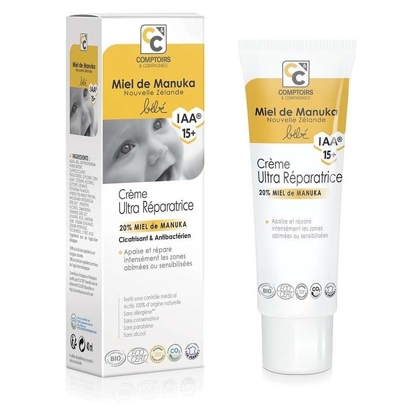 Crème ultra réparatrice Bio pour bébé 20% au miel de manuka IAA154+ - 40 ml - COMPTOIRS&COMPAGNIES
