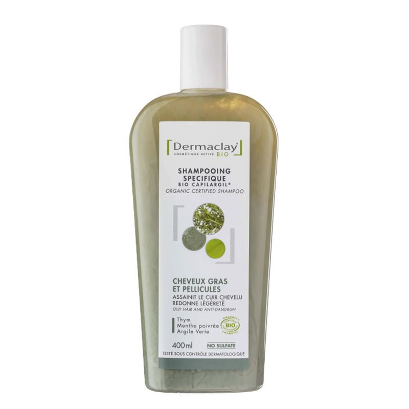 Shampooing BIO cheveux gras et pellicules - argile verte - 400 ml - DERMACLAY