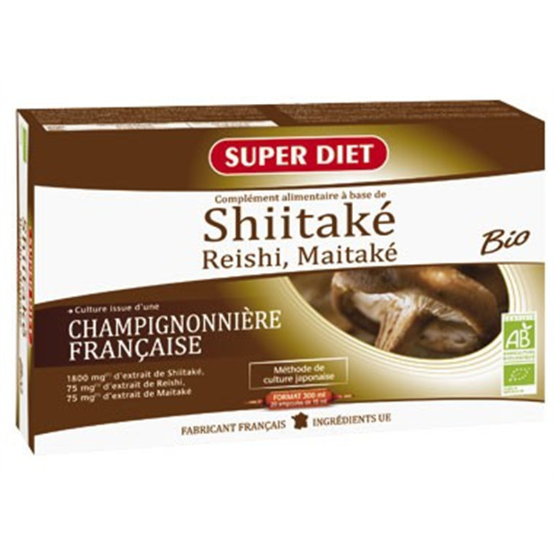 Shitake + BIO (shitaké, reishi, maïtaké) - 20 ampoules x 15 ml - LABORATOIRES SUPERDIET