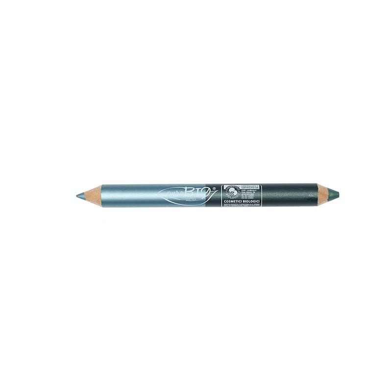DUO Crayon: Kajal DAY et NIGHT Turquoise - Vert émeraude  02 - 2,8 g - PUROBIO COSMETICS
