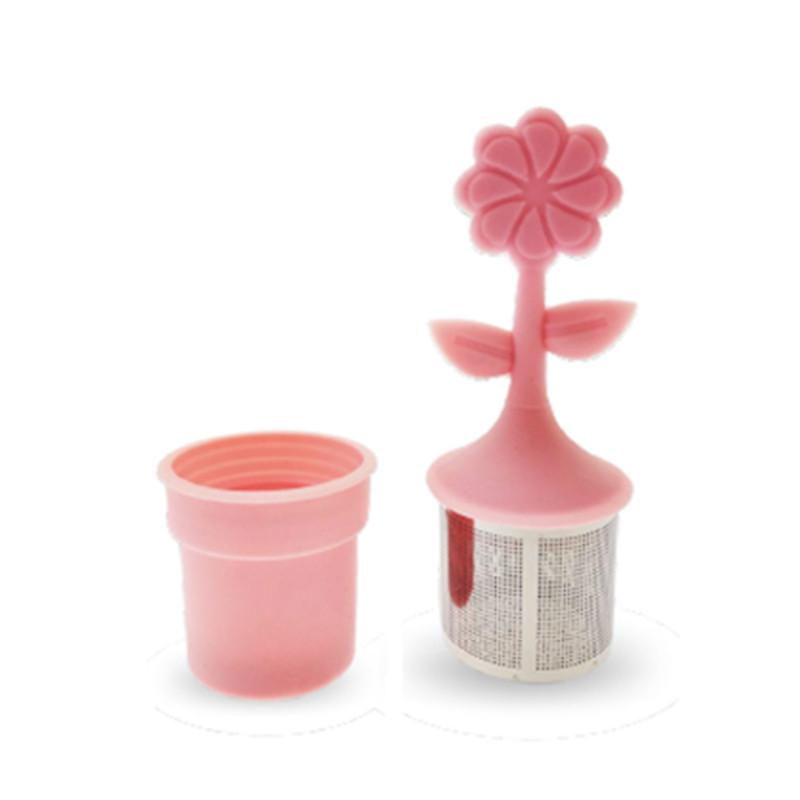 Infusette fleur silicone - inox rose - D: 3,7 cm - H: 3,7 cm