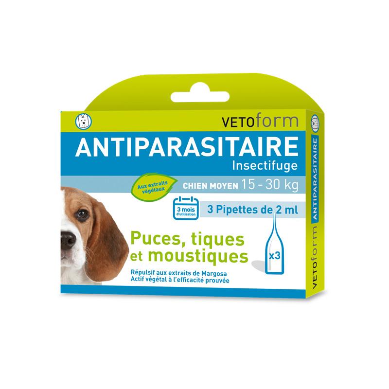Pipettes antiparasitaires chien moyen 15 - 30 kg - 3 x 2 ml - VETOFORM