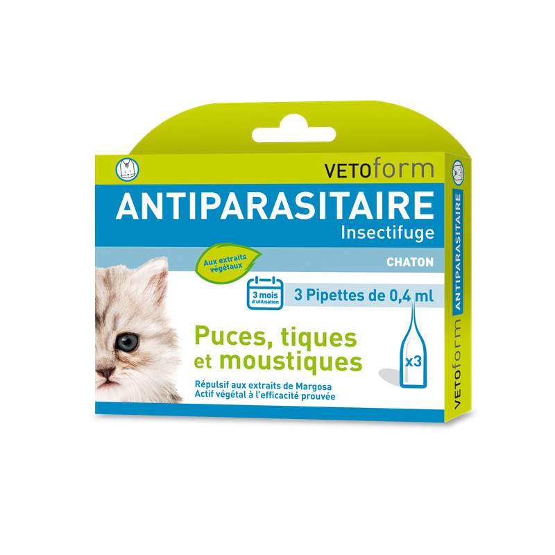 Pipettes antiparasitaires chaton - 3 x 0,4 ml - VETOFORM