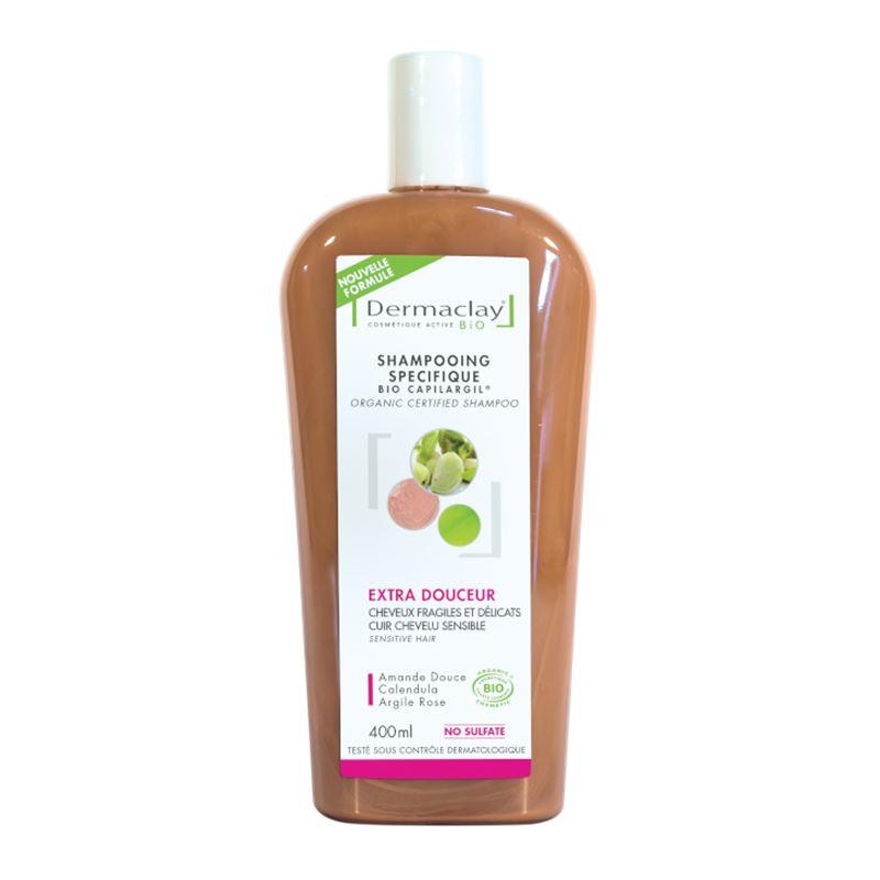 Shampooing BIO fragiles et délicats, extra douceur - argile rose - 400 ml - DERMACLAY
