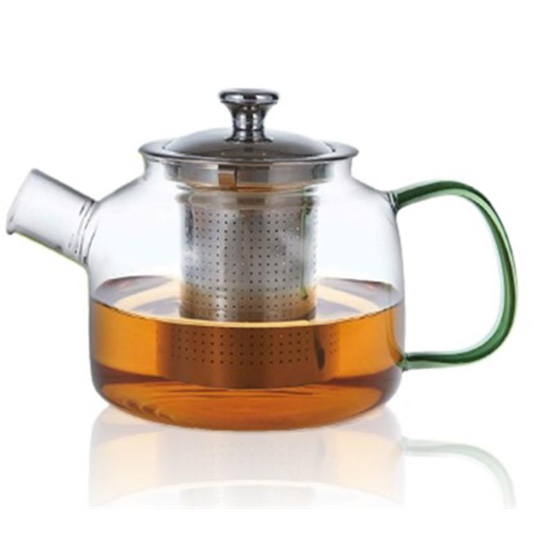 Théière en verre avec hanse de couleur verte - Filtre inox - 800 ml