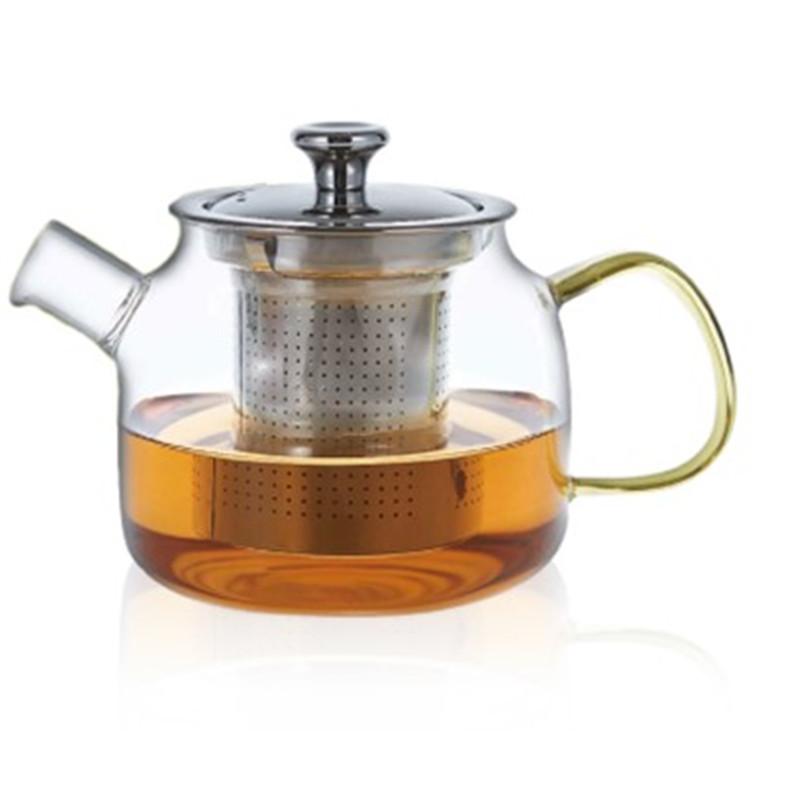 Théière en verre avec hanse de couleur orange - Filtre inox - 600 ml