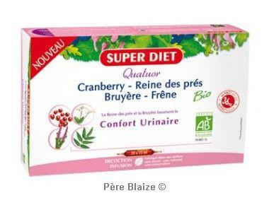 Quatuor reine des pres confort urinaire BIO - cranberry, reine des près, bruyère, frêne - 20 ampoules x 15 ml - LABORATOIRES SUP