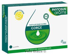 Pastilles gorge sans sucre arôme citron - boîte de 24 pastilles - PHYTOSUN AROMS