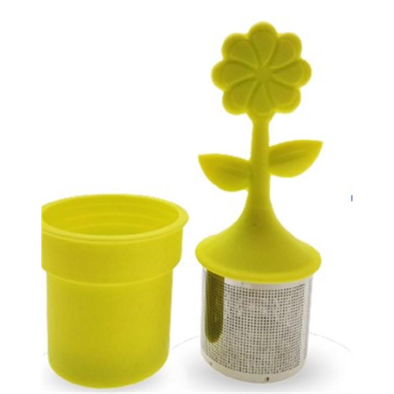 Infusette fleur silicone - inox jaune - D: 3,7 cm - H: 3,7 cm