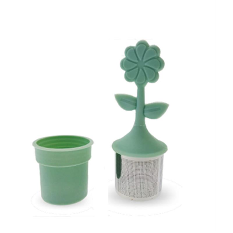 Infusette fleur silicone/inox verte - D: 3,7 cm/ H: 3,7 cm