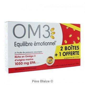 OM3 equilibre emotionnel - 2 boites achetees - 1 offerte - 3 x 60 capsules - pack - LABORATOIRES SUPERDIET