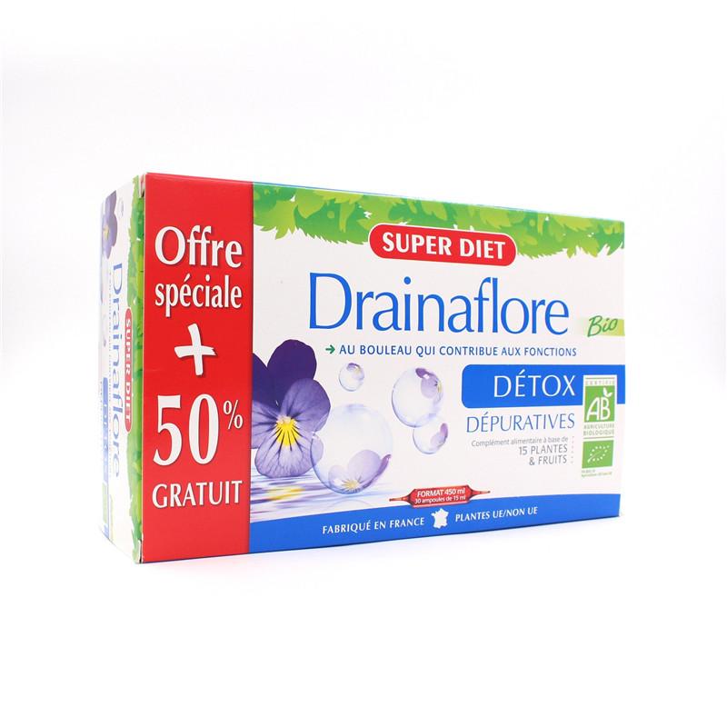 Promo Drainaflore BIO - 30 ampoules x 15 ml - LABORATOIRES SUPERDIET