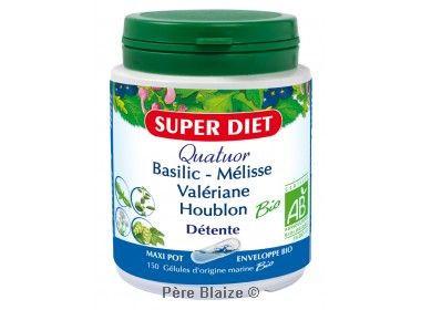 Quatuor melisse detente BIO - basilic, mélisse, valériane, houblon - 150 gél - LABORATOIRES SUPERDIET