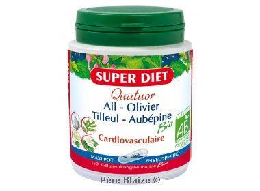 Quatuor ail cardiovasculaire BIO ail, olivier, tilleul, aubépine - 150 gél - LABORATOIRES SUPERDIET