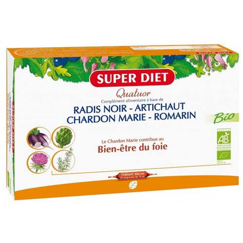 Quatuor chardon marie digestion BIO radis noir, artichaut, chardon marie, romarin - 20 ampoules x 15 ml - LABORATOIRES SUPERDIET