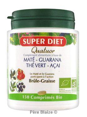 Quatuor mate brule graisse BIO - maté- guarana- thé vert- acai - 150 comprimés - LABORATOIRES SUPERDIET