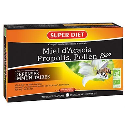 Miel propolis pollen BIO - 20 ampoules x 15 ml - LABORATOIRES SUPERDIET