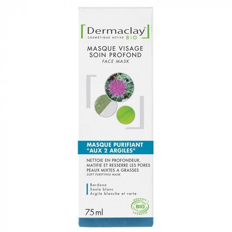 Masque purifiant aux 2 argiles Bio - 75 ml - DERMACLAY